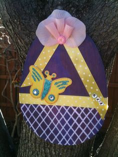 Wood Easter Egg Door Hanger, Purple, Yellow and White on Etsy, $18.00