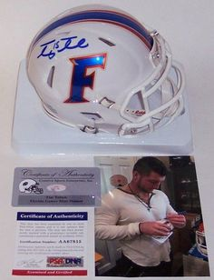 6390b0806b5 Tim Tebow Autographed Hand Signed Florida Gators White Speed Mini Helmet