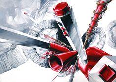 기초디자인 : 빨간 모나미 볼펜(의 구성요소)+은박접시