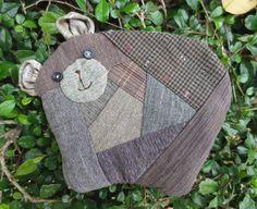 handmade quilt patchwork cotton fabric bear coin pouch purse mini bag  #Handmade #coinpurse