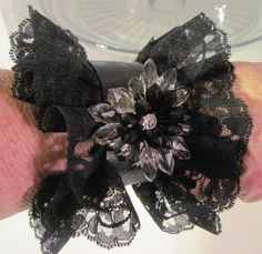Black Lace Cuff Bracelet with Upcycled by RedesigningVintage