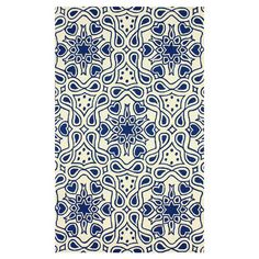 Hand-hooked wool rug with a blue medallion motif.  Product: RugConstruction Material: 100% WoolColor...