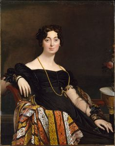 Jean-Auguste-Dominique Ingres (1780–1867) Porträt der Madame Leblanc Date1823 huile sur toile 117,5 × 90,1 cm Metropolitan Museum of Art  New York The Yorck Project: 10.000 Meisterwerke der Malerei. DVD-ROM, 2002._#The portrait of Henriette #Verninac inspired by the statue of Agrippina seat of Capitoline Museum (since identified as a representation of the Empress Helena). This attitude had already been taken over by David for his portrayal of the Marquise #d'Orvilliers dated 1790. In this…