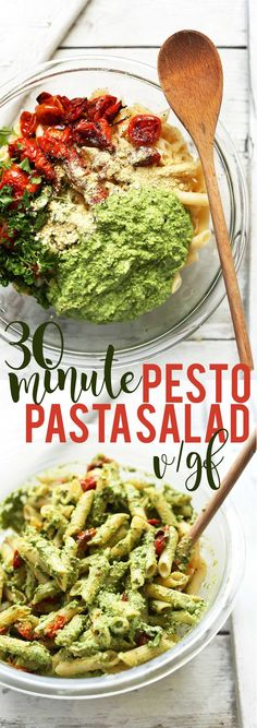 Classic pasta salad made with creamy pesto dressing and roasted tomatoes. Made with just 9 ingredients in 30 minutes! The perfect quick + easy side dish.