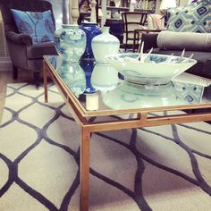 gilded coffee table with mirrored top