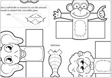 Jungle Finger Puppet - cute finger puppets to print