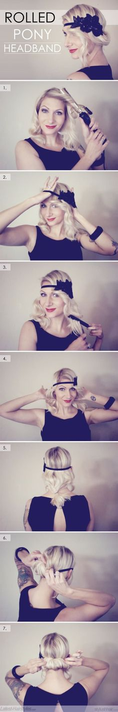 Vintage Inspired Updo Rolled Pony Headband by Abyghail