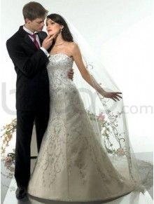 A-Line Tulle Embroidered Bodice Softly Curved Neckline Cathedral Train Wedding Dress (V9900)