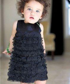 Loving this Black Satin Ruffle Dress - Infant, Toddler & Girls on #zulily! #zulilyfinds