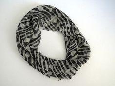 1960s VERA NEUMANN Infinity Scarf - Black White Geometric Loop Scarf -  Silk Scarf - Womens Fashion Accessories - Collectible - Gift Idea by shabbyshopgirls on Etsy