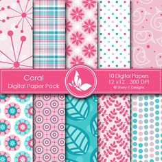 Coral  This listing is for 10 printable High Quality Digital papers.    Each paper measures 12 x 12 inch, 300 DPI, JPEG format.