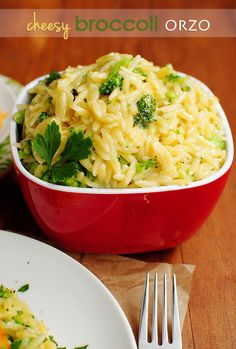 Cheesy Broccoli Orzo from Iowa Girl Eats--Made this tonight. Didn't follow the recipe exactly ('cause that's how I roll and also why I don't bake well), but it was a hit!