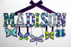 Butterfly Baby Name Sign Painted Custom Nursery Decor in Purple Aqua and Lime - Personalized Dragonfly Wall Letters With Hanging Shapes
