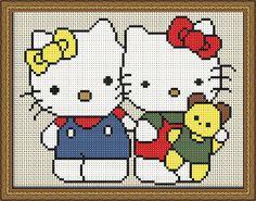 """Gráfico para Punto de Cruz y Petit Point de """"Hello Kitty""""."""