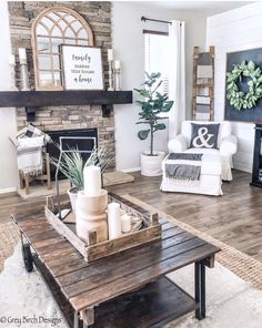Floor to ceiling stone fireplace. When we built our home the builder put in our fireplace but stopped the stone at the mantle. I always felt it was incomplete so my husband and I continued the stone to the ceiling and now it's the focal point of the room Living Room Inspiration, Home Decor Inspiration, Decor Ideas, Room Ideas, New Living Room, Home And Living, Rustic Living Room Decor, Living Room With Fireplace, Cozy Living