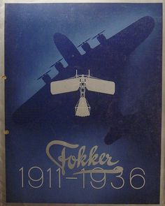 Dutch aircraft manufacturer - Fokker commemorative poster 1911-1936