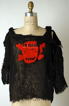 Sweater Designer: Vivienne Westwood  (British, born 1941) Designer: Malcolm McLaren (British, London 1946–2010 Switzerland) Date: 1976–80 Culture: British The punk culture was born when Vivienne Westwood broke into the fashion scene. She became famous for her obscene tshirts, similar to this sweater.