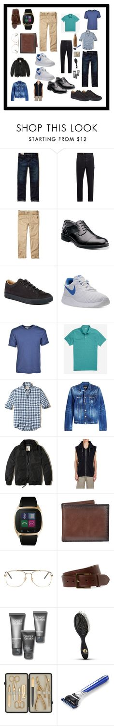 """""""inside a guy's suitcase"""" by cassandra-beauchamp on Polyvore featuring Hollister Co., Moncler Gamme Bleu, Florsheim, Lanvin, NIKE, Comme des Garçons, Bonobos, Dsquared2, adidas and iTouch"""
