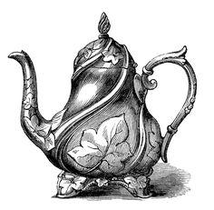 Vintage Clip Art - Garden Style Teapot - The Graphics Fairy