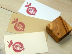 This listing is for a handmade stamp using my chunky pomegranate design. Great for decorating your scrapbooks,stationery and favor bags!    *