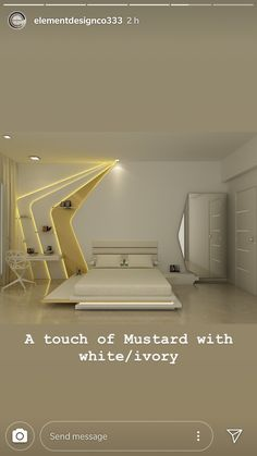Bedroom - A touch of Mustard with white/ivory Bedroom False Ceiling Design, Luxury Bedroom Design, Bedroom Furniture Design, Master Bedroom Design, Home Decor Bedroom, Home Interior Design, Drywall, Luxurious Bedrooms, Living Room Designs