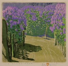 """""""A Lilac Year - Ed. I, 57 - on page 109 of Baumann, Nearer to Art"""" Gustave Baumann, 1881 - 1971 Color Woodcut Block Print on Paper link"""