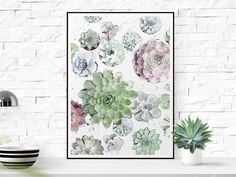 """SAVE 40% when you order 2 or more prints. Use code """"SAVE40"""" succulent print succulent wall art succulent painting succulent watercolor"""