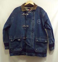 Awesome Tommy Hilfiger Heavy Denim Jacket w/ Liner Large EUC Very Unique #TommyHilfiger #JeanJacket