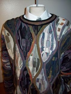 TUNDRA sweater XL men Coogie style ENGINEERED CREW NECK 3D vintage Cosby