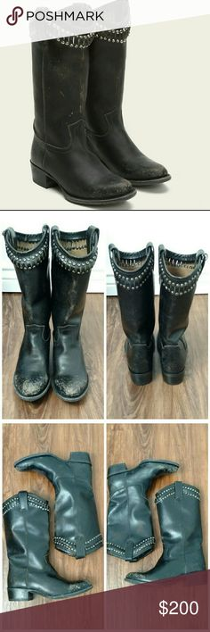 """Frye Diana Cut Metal Stud Tall Distressed Boot Frye Diana Cut Stud Tall distressed black boot.   Stone washed leather with a hand-burnished finish.  Leather is tumbled in a wooden drum with stones to get that perfectly worn-in look.  Hand-hammered metal stud hardware make this style unforgettable.  Leather lined, leather outsole, appx 10 3/4"""" shaft height, 13 2/5"""" shaft circumference,  1 2/5"""" heel height.  Like new, (style comes intentionally distressed).  Frye tag still attached.  Size 8…"""