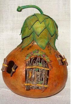 Fairy Home: Love the shutters and door idea Fairy Garden Houses, Fairy Gardens, Miniature Gardens, Fairy Tree Houses, Halloween Fairy, Fairy Furniture, Painted Gourds, Fairy Garden Accessories, Fairy Doors