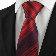 KissTies Men's Tie Necktie Burgundy Red Striped Wedding/Business/Party/Work/Casual With Gift Box - GBP £10.33 ! HOT Product! A hot product at an incredible low price is now on sale! Come check it out along with other items like this. Get great discounts, earn Rewards and much more each time you shop with us!