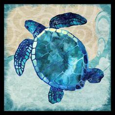 Found it at Wayfair - 'Ocean Sea Turtle - Colorful Blue Green Coastal Nautical Sea Life' by Jill Meyer Framed Graphic Art Art Aquarelle, Turtle Love, Beach House Decor, Beach Houses, Beach Art, Beach Canvas, Beach Themes, Coastal Decor, Coastal Country