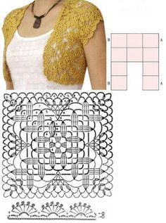 Crochet...Gotta Love It! Blog: Wheat Motif Bolero, Vest, Jacket (10 large squares), March 11, 2012