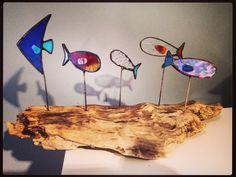 Fishy Fish Drift Away Art is a mixture of Canadian driftwood and stained glass captured in the form of mini sail boats, Beach Huts, framed Art and crazy eyed fish set upon a unique piece of glass infused driftwood.