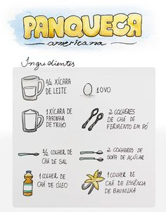 Receita Ilustrada: Panqueca Americana Cooking Time, Cooking Recipes, Food Illustrations, Creative Food, Diy Food, Food Hacks, Love Food, Sweet Recipes, Food Porn