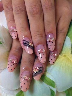 black dot and lace nails - nail art