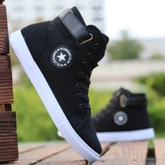 Mens High-top Canvas Shoes Men 2019 New Spring Autumn Top Fashion Sneakers Lace-up High Style Solid Colors Man Black Shoes , Mens Fashion Shoes, Sneakers Fashion, Style Fashion, Latex Fashion, Fashion Vintage, Fashion 2018, Gothic Fashion, Fashion Outfits, Fashion Design
