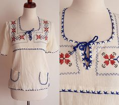 Vintage Peasant Blouse  1970's  Cotton by PaperdollVintageShop