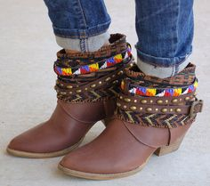 Cleadora Beaded Boots- Brown #beaded #boots #embroidered #new