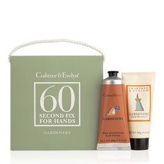 Every minute of your day is precious. Our revolutionary, two-step 60-Second Fix system ensures no time is wasted. Our Gardeners Hand Recovery cleanses, exfoliates and preps skin. Then our intensive Hand Therapy completes this treat for hard-working hands. It's lasting moisture relief in almost no time at all.