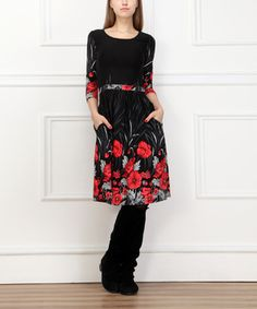 Look what I found on #zulily! Reborn Collection Black & Red Floral Leaves Pleated Dress by  #zulilyfinds