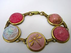 Gotta Love Pink! ANTIQUE BUTTON bracelet with all glass buttons. One of a kind, by sewsandyshop, $38