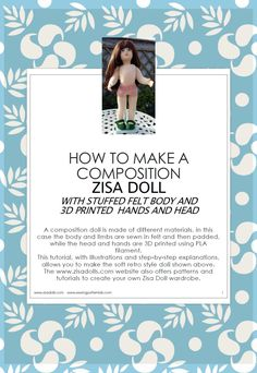 DIY Zisa composition doll: two STL files to 3D print head and hands+ one sewing pattern and one step by step tutorial in PDF, in English by SewingPatternLab on Etsy