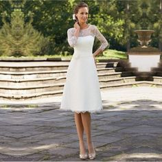 Find More Wedding Dresses Information about 2015 Elegant White Lace Wedding Dresses Knee Length 3/4 Sleeve Wedding Gowns Custom Short Bridal Dresses Vestido De Noiva Corto,High Quality dress jackets for men,China dress coctail Suppliers, Cheap dresses below the knee from karen's house of bridalwear on Aliexpress.com