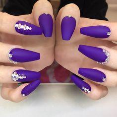 Purple Ballerina Nails With Rhinestones