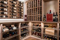 Custom millwork and racking creates the perfect wine storage and display for your wine cellar. #winecellardesign #winecellarbuilders #winestorage #winecollection #custom #millwork #wineracking Glass Wine Cellar, Wine Cellar Design, Wine Cellars, Wine Glass, Metal Rack, Wood Wine Racks, Wine Collection, Wine Storage, Construction