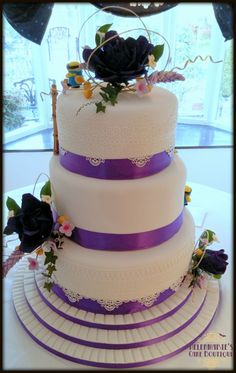 2 sided Wedding cake, Purple and pretty