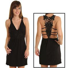 Black Sweet Slinky Open Lace Back Party Dress