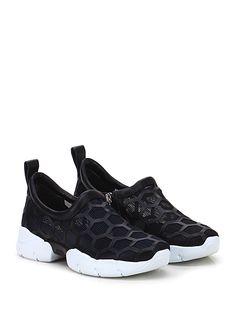 GREY MER - Sneakers - Donna - Sneaker in retina e pelle con zip su lato interno e lavorazione a nido d'ape su tomaia. Suola in gomma extra light. Tacco 40, platform 25 con batttuta 15. - NERO